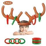 Coolba Aufblasbares Geweih Ring Wurf-Spiel Weihnachtsfest-Wurf-Spiel für Familien-Kinder Büro-Geburtstag Weihnachtsspaß-Spiele (2 Geweihe 12 Ringe)