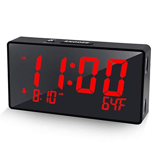 Compact Digital Alarm Clock with USB Port for Charging, 0-100% Brightness Dimmer, Red Bold Digit Display, Temperature , 12/24Hr, Snooze, Adjustable Alarm Volume, Small Desk Bedroom Bedside Clocks.