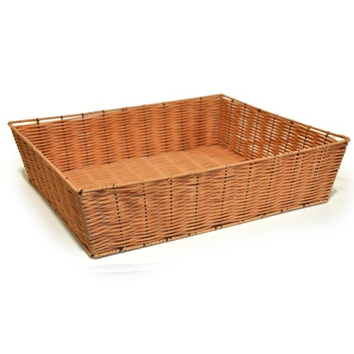 "The Lucky Clover Trading Display Tray, Synthetic Wicker, 19.5"" L x 4.65"" H x 16.3"" W Basket, Honey"