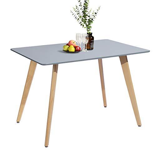 Meuble Cosy - Tavolo da pranzo rettangolare scandinavo, design in legno, per 4-6 persone, 110 x 70 x 74 cm, colore: Grigio, in legno