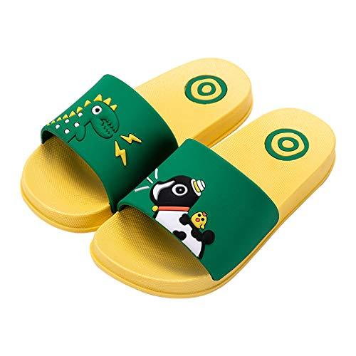 KVbabby Zapatos de Playa y Piscina para Niños Suave Bañarse Chanclas para Niña y Niño,Verde-Amarillo,26/27 EU