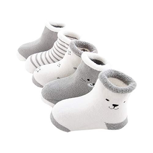 ベビーソックス 靴下キッズ 綿 柔らかい 秋 冬 保温 可愛い 5足セット(グレー, 12-14cm)