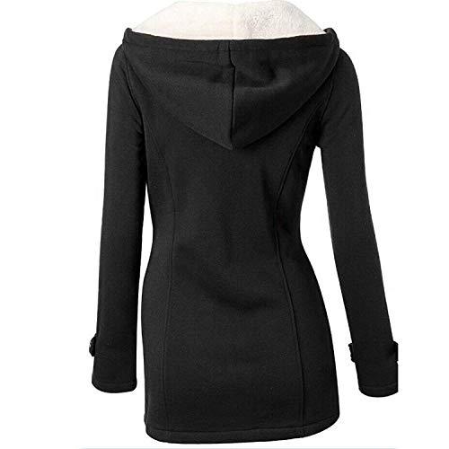 GHYUGR Cappotto con Cappuccio Donna Invernale Autunno Elegante Lungo Giacca Cotone Hoodies Classico Felpa Pulsante Corno Outwear,M,Nero