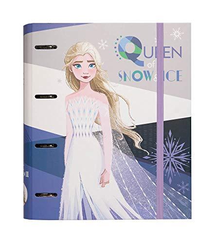 Grupo Erik Raccoglitore ad anelli A4 Disney Frozen 2 con chiusura con fascia elastica per tenere al sicuro i tuoi appunti