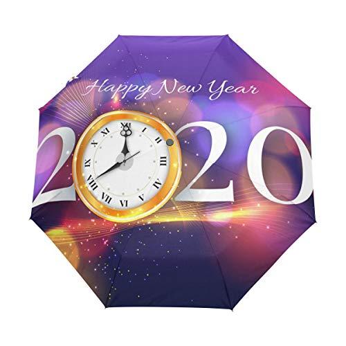 Feliz Año Nuevo 2020 Reloj Paraguas Plegable Hombre Automático Abrir y Cerrar...