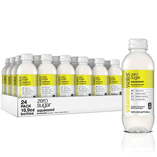 vitaminwater zero squeezed, electrolyte enhanced water w/ vitamins, lemonade drinks, 16.9 Fl Oz (24 Count)