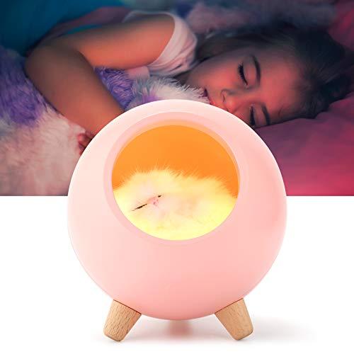Yumcute Luz Nocturna Infantil, Lámpara de Mesita de Luz Quitamiedos Recargable por USB Diseño de Control Táctil Portátil, Regalo para Niños y Bebés, Rosado