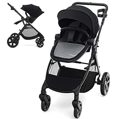 BABY JOY Baby Stroller, 2 in 1 Aluminum Carriage w/Reversible Seat, Cup Holder, 5-Point Harness, Adjustable Handle/Canopy/Backrest, Large Storage Basket, One-Step Folding Stroller for Infant (Black)
