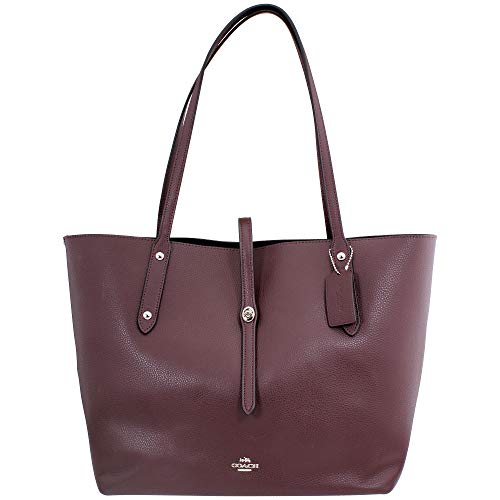 COACH Polished Pebble Leather Large Market Tote Silver/Oxblood One Size