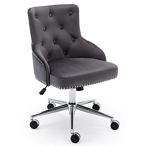 Irene House Modern Mid-Back Tufted Velvet Fabric Computer Desk Chair Swivel Adjustable Accent Home Office Task Chair Executive Chair with Soft Seat (Grey)