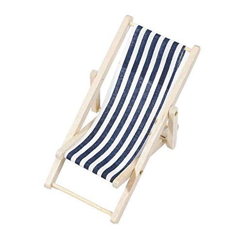 CENPEN Mini silla de playa Silla plegable Tumbona de jardín miniatura rayada