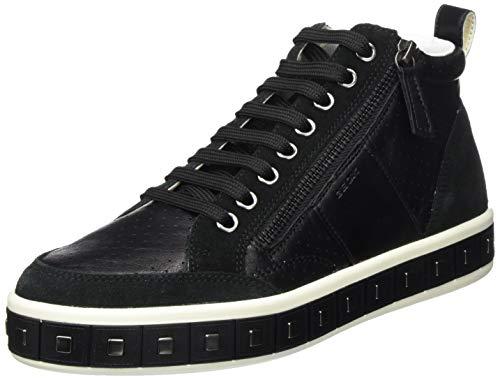 Geox D Leelu' G, Sneaker a Collo Alto Donna, Nero (Black C9999), 37 EU