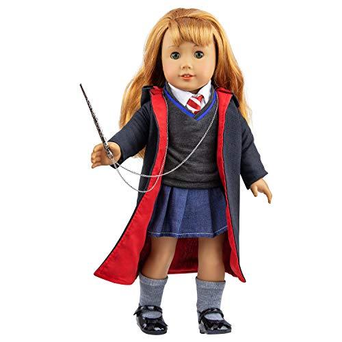 ZITA ELEMENT 8 Stück Set Puppen Kleidung für 18 zoll American Girl und die anderen 45-46cm Puppen Set Magic Kleider Karneval Halloween Kostüm Cosplay Mantel Hemd Krawatte mit Schuhe