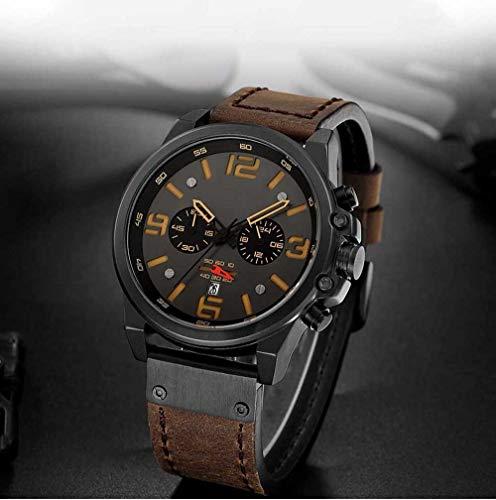 Voigoo Herrenuhr Top Marken-wasserdichte Sport-Armbanduhr Chronograph Quarz-Militär echtes Leder Relogio Masculino