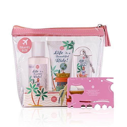accentra Reiseset, Geschenkset Let´s Travel für Frauen, Beauty mit PVC-Kulturtasche und Multi-Tool in pink, Pflegedusche, reinigendes Handgel für unterwegs und Handcreme