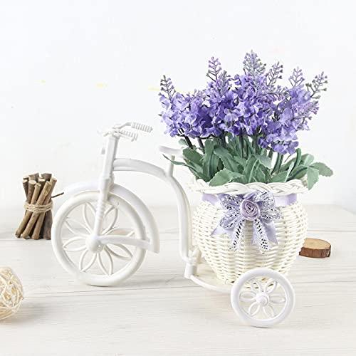 Flores artificiales con maceta, bonsái de simulación, planta simulada, 1, una gran lavanda redonda flota flores artificiales bonsái, paquete de simulación de ratán flota flor azul decoración