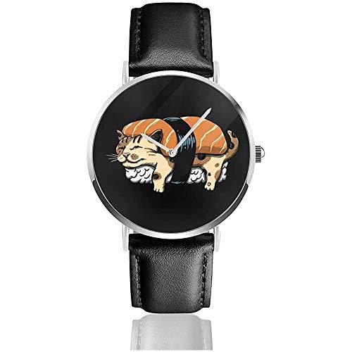 Neko Sushi Uhren Quarz Lederuhr mit schwarzem Lederband für Sammlungsgeschenk
