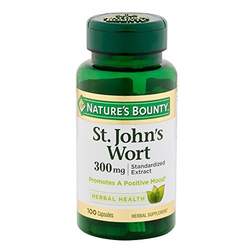 Nature's Bounty St. John's Wort Pills and Herbal Health Supplement, Promotes a Positive Mood, 300mg, 100 Capsules, 2 Pack