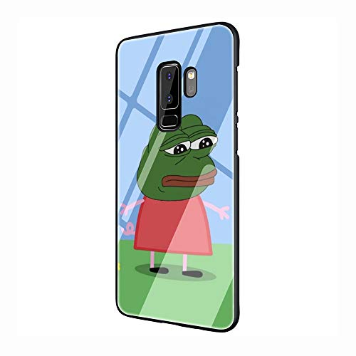 Internet Meme Smug Frog Pepe Tempered Glass TPU Black Cover Case for Samsung Galaxy S7 Edge S8 S9 S10 Plus (G6,for Galaxy S7 Edge)