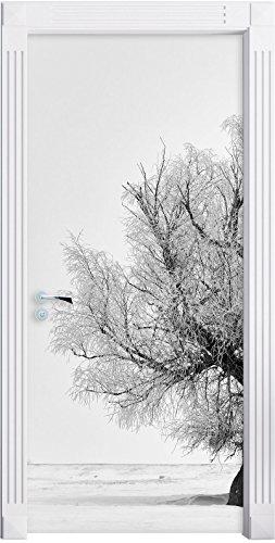 Stil.Zeit Möbel Alberi nella Neve Nebbia Come Murale, Formato: 200x90cm, Telaio della Porta, Adesivi Porta, Porta Decorazione, autoadesivi del Portello