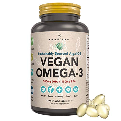 Premium Vegan Omega-3 DHA + EPA Algal Oil Supplement. 120 Capsules. Marine Algae Based Essential Fatty Acids. Fish Oil Alternative! Supports Joints, Heart, Skin, Brain, Eyes, Immune & Prenatal Health.