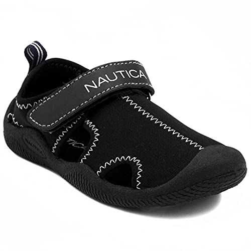 Nautica Kids Kettle Gulf Protective Water Shoe,Closed-Toe Sport Youth Sandal For Boys and Girls-Solid Black-1