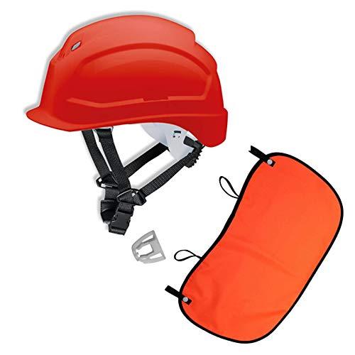 UVEX Schutzhelm pheos S-KR EN 397- Vormontierter 4-Punkt Kinnriemen und Vollsichtbrillenclip + Nackenschutz orange mit BG Bau Förderung, Farbe:rot