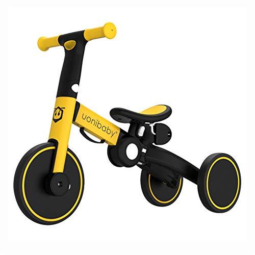 HQYXGS Equilibral, 1-6 años de Edad, bebé, sin pie, Bicicleta de Dos en uno, resbaladizo para niños, Mejor cumpleaños (con Barra de tirón),Amarillo,Without Putter