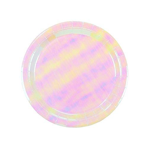 Talking Tables We Heart Pink; pastelkleurige hoogglans kartonnen borden voor verjaardagen (motieven: eenhoorn, zeemeermin, kinderfeest), roze, 23 cm (12 per pak in 1 design)