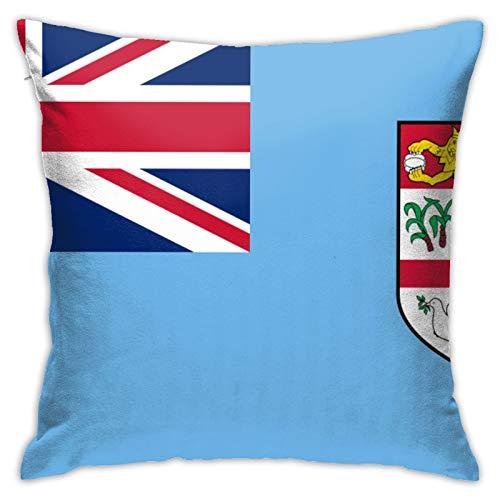 jhgfd7523 Throw Pillow Cover Fiji Flag Decorative Pillow Case Home Decor Square 18x18 Inches Pillowcase