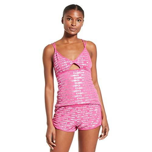 bebe Womens Tank Top and Shorts Pajama Lounge Sleep Set Rose Violet Medium