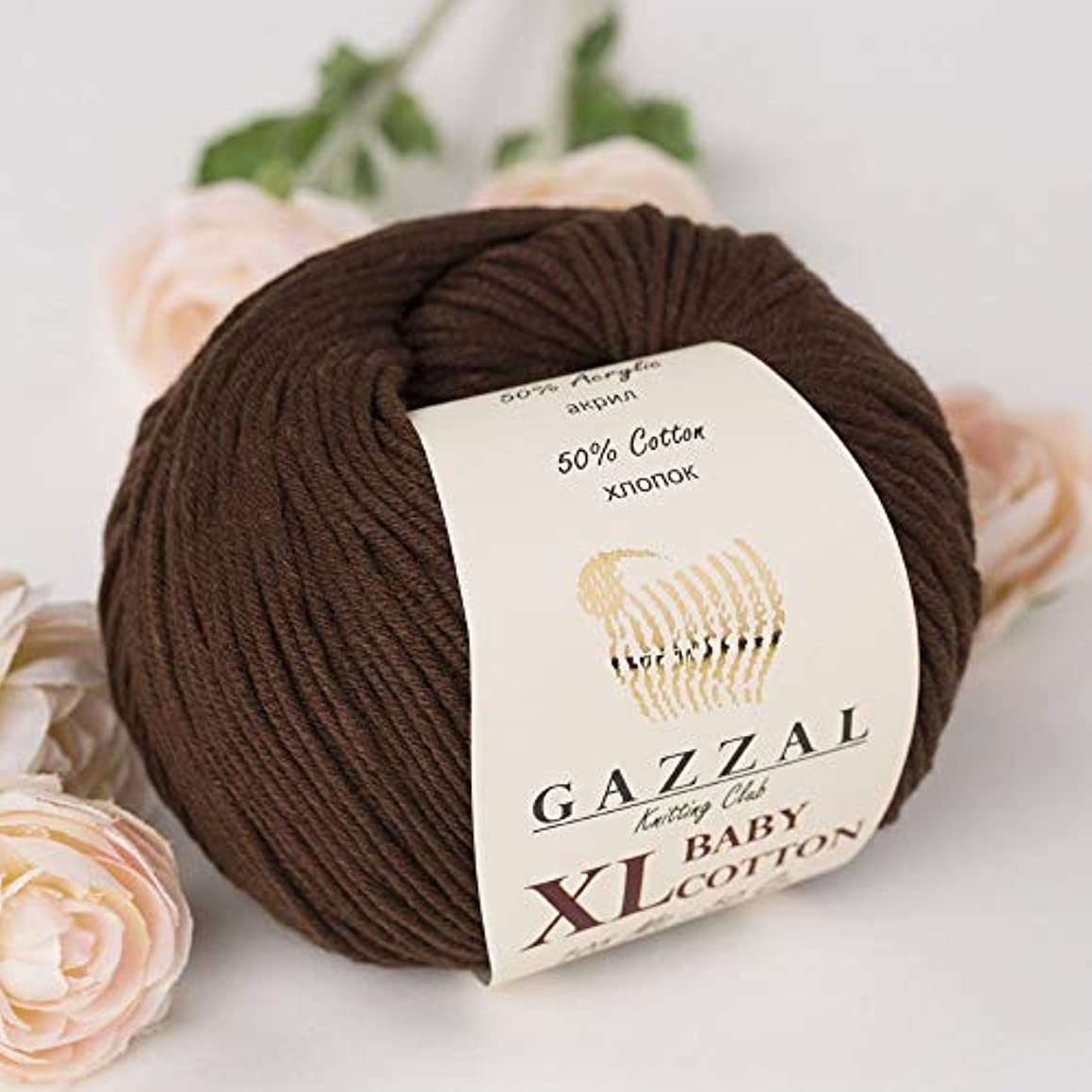 3 Pack (Ball) Gazzal Baby Cotton XL Total 5.28 Oz / 344 Yrds, Each Ball 1.76 Oz (50g) / 246 Yrds (225m) Super Soft, DK- Worsted Baby Yarn, 50% Turkish Cotton, Brown - 3436