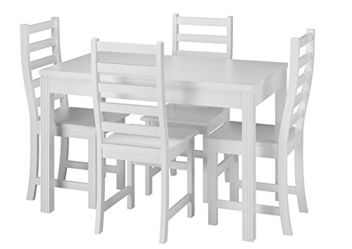 Erst-Holz® Stilvolle Essgruppe mit Tisch und 4 Stühle Kiefer Massivholz waschweiß 90.70-51 C W-Set 21