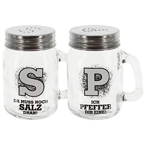 2 x Streuer Salz/Pfeffer m. Sprüchen, Küchenartikel, Grillen, Sommer (Streuer Salz + Peffer (2er SET))