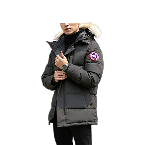 Men's Winter Coat Water-Repellent Windproof Fur Hooded Thicken Long Parka Puffer Jacket (Gray, L)