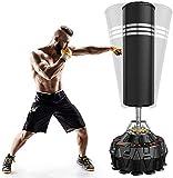 YOLEO Sac de Frappe Autoportant 178 cm Sac de Boxe sur Pied Adulte Punching Bag Kickboxing MMA Equipement D'entraînement - Noir