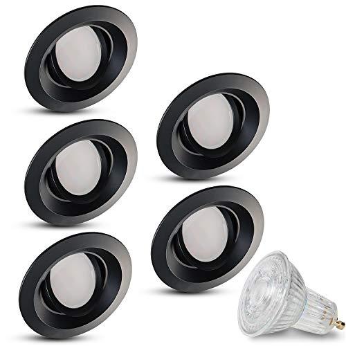 JVS Sonya Lot de 5 spots LED encastrables ronds et orientables à intensité variable - noir - avec 5 ampoules LED 5W blanc chaud - 230 V - GU10 - IP20