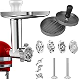Grinder Attachment in metallo per mixer KitchenAid Stand Mixers, AMZCHEF Meat Grinder Attachment Inclusi 3 tubi di sausage Stuffer & A Holder,4 piastre Grinding Blades,2 Burger Press,Cleaning