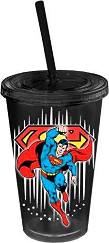 Superman-Noir avec étoiles en plastique isolé tasse avec Paille