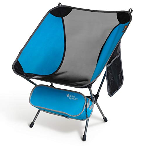 PampJ Trading EyrieLight Outdoor Chair – Compact and Lightweight for Backpacking Camping Hiking Beach Festivals Tailgating Kids Sports Backpacking  189lb Bright Blue with Grey Legs