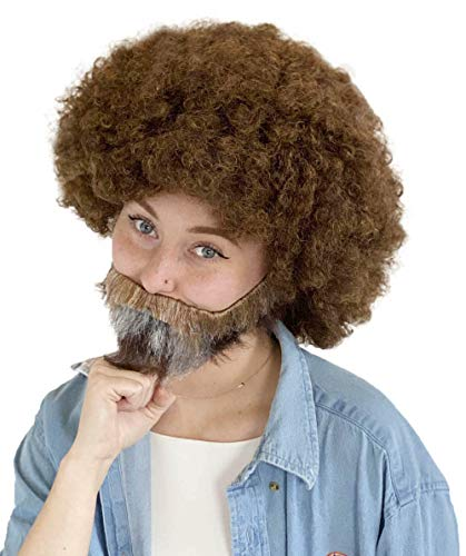 80's Painter Afro Wig with Full Beard and Mustache Set, (Adult)