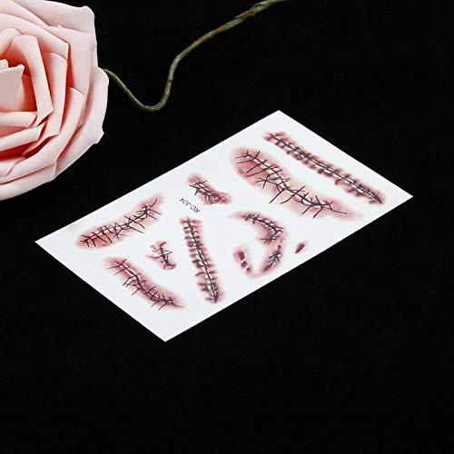 Halloween Horror Wound Scary Blood Injury Sticker Halloween Fake Scars Disfraz ensangrentado Zombie Scar Tatuajes Maquillaje