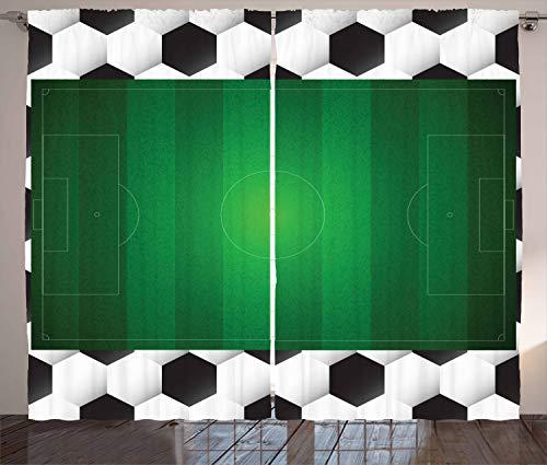 ABAKUHAUS Fußball Rustikaler Gardine, Fußballfeld Ziel, Schlafzimmer Kräuselband Vorhang mit Schlaufen und Haken, 280 x 260 cm, Weiß Schwarz Grün