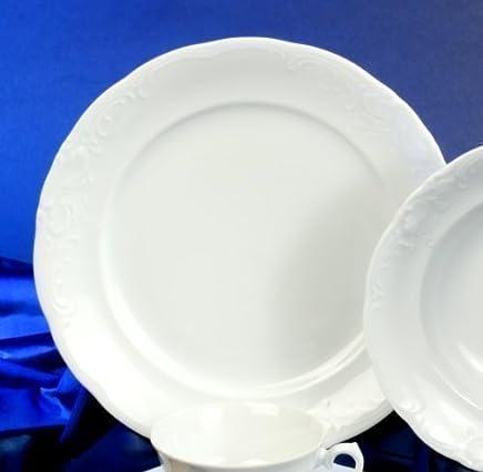 Preisvergleich für 6 Speiseteller Teller flach 26cm Frederike Weiss Luxus Design Classic Neu Relief Rund Porzellan 6 Personen