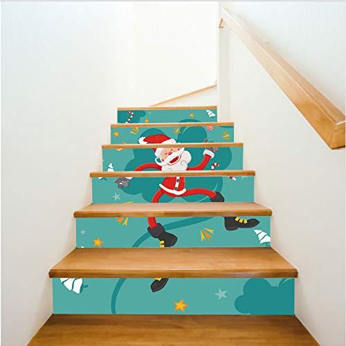 Treppenaufkleber Weihnachten Nette Weihnachtsmann Treppen Aufkleber Für Wohnzimmer Eingang Vinyl Selbstklebende Treppe Wandbild Diy Aufkleber 6 Stücke / 13 Stücke