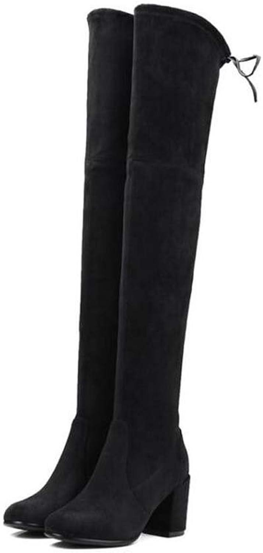 Oberschenkel hohe Stiefel Knie hohe Stiefel Stretch Stiefel 2017 Herbst und Winter neue Frauen runde Zehe Seude 6.5cm Chunkly Ferse Bowknot Kleid Schuhe Casual Court Schuhe Eu Gre 33-40