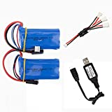 7.4V 1500mAh Li-Ion Battery Rechargeable Battery Pack 5500 Plug for MJX T640 F39 F49 T39 RC Aircraft Syma 822 RC Quadcopter Drone 2 Pack with USB Charging Cable