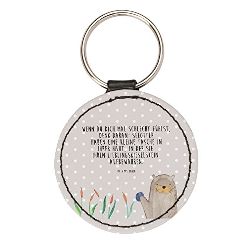 Mr. & Mrs. Panda Rund Schlüsselanhänger Otter mit Stein - Otter Seeotter See Otter Schlüsselanhänger, Anhänger, Taschenanhänger, Glücksbringer, Schlüsselband