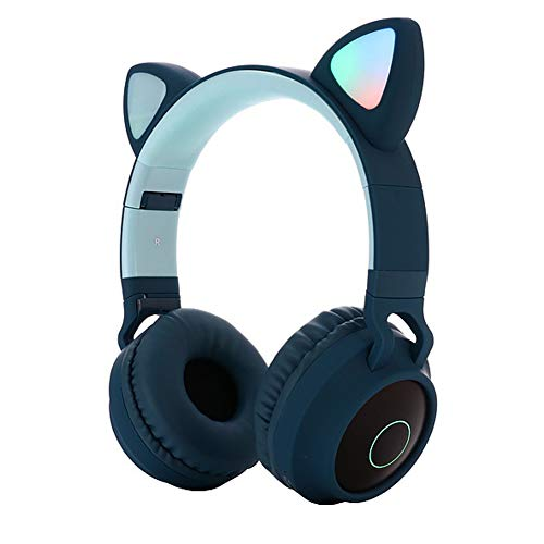 Kids Bluetooth 5.0 Cat Ear Headphones Foldable On-Ear Stereo Wireless Headset with Mic LED Light and Volume Control Support FM Radio/TF Card/Aux in Compatible with Smartphones PC Tablet (Green)