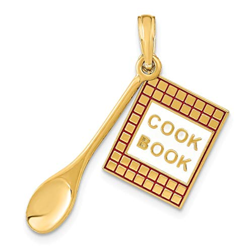 14ct Goud 3-d Cook Boek Met Rood Emaille en Houten Lepel Bedel